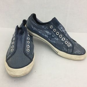 Converse One Star Womens Shoes Size 10 Blue Sequin